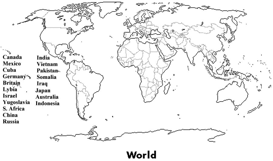 political map of world black and white. Practice: A World Map to